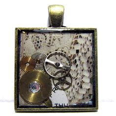 Ivory Lace Steampunk Antique Gold Square Resin by ElementalKarma, $10.00