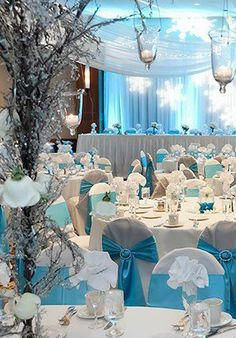 Winter Wonderland Wedding - I know they are commonly used at weddings and events but I really don't like the basic now tied chair covers. A nice real chair instead of cheap ones or a partial chair covers better than these tacky bows. Winter Wonderland Decorations, Winter Wonderland Theme, Winter Theme, Frozen Wedding, Cinderella Wedding, Baby Blue Weddings, Winter Weddings, Baby Blue Wedding Theme, Romantic Weddings