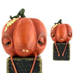 cute pumpkin figurine halloween mandragora plant art doll