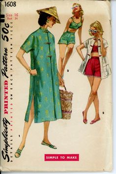 Simplicity 1608 Misses 1950s Playsuit Pattern Bra Top Boy Shorts Mandarin Collar Beach Coat Womens Vintage Sewing Pattern Bust 34. $48.00, via Etsy.