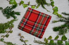 Pocket square plaid tartan red linen cotton 15 by ASDFstyle