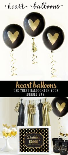 Black and Gold Balloons printed with a metallic gold heart are perfect for engagement party decorations or bachelorette party decor. Use these Gold