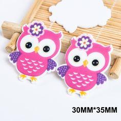 50pcs/lot 30*35MM Cartoon Pink Owl Flatback Resin Planar Kawaii Animal Resins DIY Craft For Home Decoration Accessories FR-13