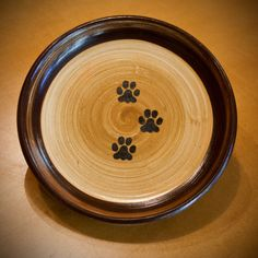 Paws Print Plate in Tan & Chocolate Medium by 4pawspottery on Etsy