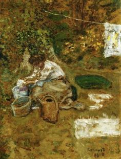 Pierre Bonnard, (French painter, 1867-1947). The Linen 1900 (Detail)
