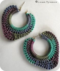 Simply Monet by LionessXpressions earrings Crochet Jewelry Patterns, Crochet Earrings Pattern, Crochet Accessories, Crochet Designs, Crochet Art, Thread Crochet, Crochet Crafts, Jewelry Crafts, Handmade Jewelry