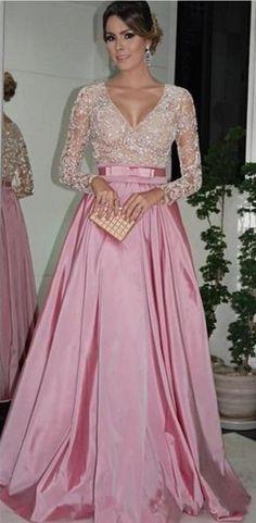 A Line Elegant Pink Evening Dresses Floor Length #prom #promdress #dress #eveningdress #evening #fashion #love #shopping #art #dress #women #mermaid #SEXY #SexyGirl #PromDresses