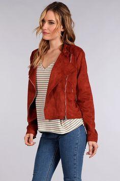 Rust Suede Moto Jacket - Longhorn Fashions