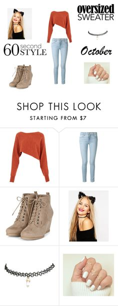 """""""60 Second Style : Oversized Sweater"""" by hexgirlx ❤ liked on Polyvore featuring Crea Concept, Frame Denim, ASOS and Wet Seal"""
