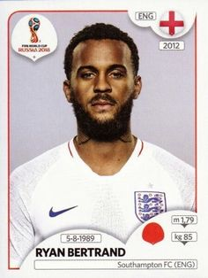 Ryan Bertrand of England. 2018 World Cup Finals card. Football Soccer, Football Players, England World Cup 2018, Southampton Fc, England Fans, Jersey Atletico Madrid, World Cup Russia 2018, America's Cup, Soccer