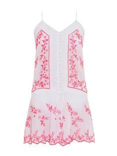 Juliet Dunn Embroidered cotton mini dress