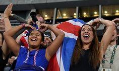 Farah's wife Tania Nell and daughter Rihanna celebrate in Rio.