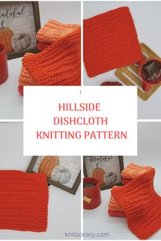 Hillside dishcloth knitting pattern features alternating garter stitch and stockinette stitch rows with a garter stitch border. A very quick & easy knitting pattern and beginner friendly. Crochet Cross, Knit Crochet, Crochet Hats, Knitted Washcloths, Knitted Hats, Dishcloth Knitting Patterns, Crochet Patterns, Fall Knitting, Stockinette