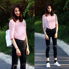 Nora Aradi - Wannabk Shirt, Asos Bag, Younghungryfree Jeans, Adidas Sneakers, Daniel Wellington Watch - Afternoon lights