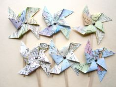 Vintage Map Pinwheels, vintage wedding, 50 two inch pinwheels, vintage atlas pages, cupcake toppers, shabby chic, travel theme. $28.00, via Etsy.
