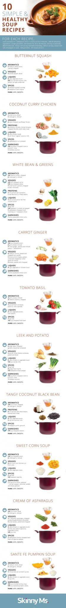 This easy to follow infographic has 10 Simple and Healthy Soup Recipes for any occasion!