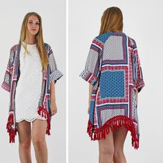 PinkCad White Pink & Blue Patchwork Tassel Hem Kimono Instore And Online www.pinkcadillac.co.uk Festival Trends, Pink Cadillac, Summer Looks, Pink Blue, Tassel, Kimono, Cover Up, Stylish, Coat