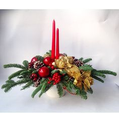Новогодние композиции Christmas Party Decorations Diy, Christmas Tabletop, Christmas Candles, Christmas Centerpieces, Christmas Flowers, Christmas Wreaths, Christmas Crafts, Christmas Ornaments, Candle Arrangements