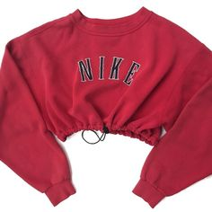Reworked Nike Crop Sweatshirt Red ($38) ❤ liked on Polyvore featuring tops and nike