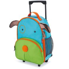 Skip Hop Zoo Little Kid Luggage - Dog. Top rated rolling kids rolling backpacks for children 2 - 7 years. Grab handle on top, parent strap, retractable handle and side mesh pocket to hold sippy cups and water bottles.