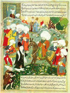 Erstes Zusammentreffen von Dschalal ad-Din ar-Rumi (reitend) und Schams-e Tabrizi (im dunklen Derwischgewand). Türkische Miniatur um 1600