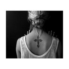 Cross tattoo on back ❤ liked on Polyvore featuring accessories, body art, tattoo, tattos and pictures