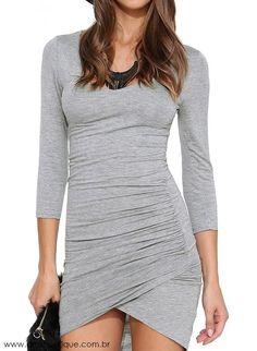 Vestido Assimétrico Cinza - Vestidos   DMS Boutique