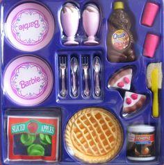 Barbie Cooking Magic Dessert Set by Mattel, 1997 - Have this too. I loved these sets. Barbie Sets, Barbie Dolls Diy, Barbie Food, Doll Clothes Barbie, Doll Food, Barbie Stuff, Barbie Dream, Barbie House, Accessoires Barbie