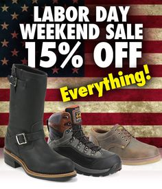 Get 15% off all boots at the workbootworld.com Labor Day Weekend Sale. Includes all regular and clearance priced items. Offer valid until September 7th, 2015. Must use promo code: WBWLABOR15