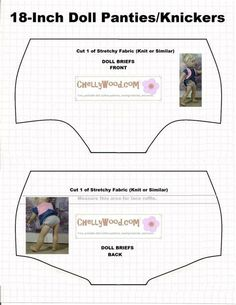 Image of doll underwear pattern (briefs) to fit 18 inch dolls like American Girl Dolls, Journey Girls, Madame Alexander dolls, etc. Free printable pattern for sewing dolly underwear (knickers) girl accessories diy American Girl Outfits, Ropa American Girl, American Doll Clothes, Sewing Doll Clothes, Sewing Dolls, Girl Doll Clothes, Girl Dolls, Dress Sewing, Ag Dolls