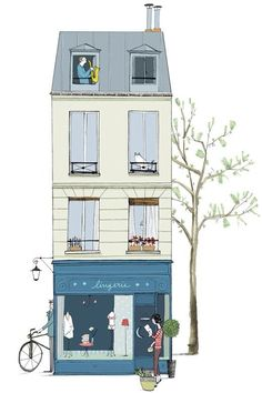 Postcard from Paris - Ilustrarium: Contemporary Illustration Gallery, Affordable Art for all Audiences Art And Illustration, Building Illustration, My Little Paris, Buch Design, Grafik Design, Art Plastique, Illustrators, Concept Art, Mail Art