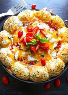 Warm Skillet Cheesy Bread with Baked Spaghetti on MyRecipeMagic.com