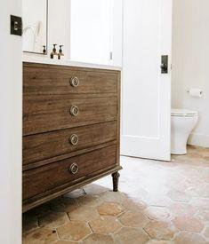 Nate And Jeremiah, Terracotta Floor, Red Tiles, Bathroom Floor Tiles, Bath Remodel, Kitchen Remodel, Bathroom Inspiration, Bathroom Inspo, Master Bathroom