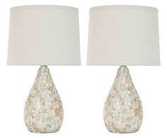 Tafellampen Lauralie, 2 stuks, beigeBruin, H 49 cm