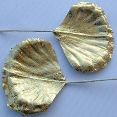 Vintage GOLD Foil Leaves Millinery Flower Art by VintagePartyPaper, $9.00  For cake