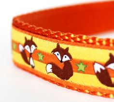Fox and Stars Dog Collar / Orange Yellow / Adjustable Dog Collar / European Ribbon by daydogdesigns on Etsy https://www.etsy.com/listing/179624598/fox-and-stars-dog-collar-orange-yellow