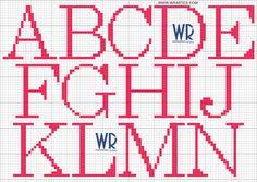 WR Artes (Blog do Wagner Reis): Gráfico letras ponto cruz para iniciante