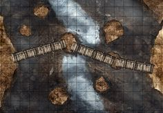 Dragonfall Bridge, a FREE printable battle map for Dungeons and Dragons / D&D, Pathfinder and other tabletop RPGs. Tags: bridge, mountain, valley, dragon, skeleton, river, danger, , encounter,