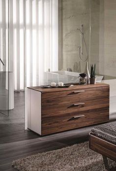 Designer chest of drawers by Martin Ballendat in walnut or oak Hooker Furniture, Bedroom Furniture Sets, Commode Design, Bedroom Chest Of Drawers, Spin, Espace Design, Wooden Dining Chairs, Luxurious Bedrooms, Foot Rest