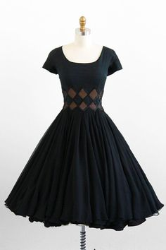 vintage 1950s black silk chiffon cocktail party dress.