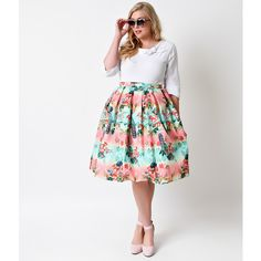 Hell Bunny Plus Size 1950s Rockabilly High Waist Peacock Tiki Circle... ($82) ❤ liked on Polyvore featuring skirts, teal, floral skater skirt, knee length circle skirt, knee length skater skirt, plus size high waisted skirt and white high waisted skirt
