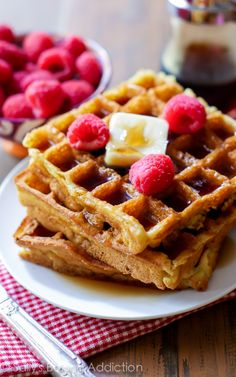 My Favorite Buttermilk Waffles are delightfully crisp on the outside and light as air on the inside. Recipe by sallysbakingaddiction.com
