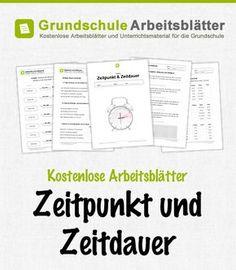 Kostenlose Arbeitsblätter und Unterrichtsmaterial zum Thema Zeitpunkt und Zeitdauer im Mathe-Unterricht in der Grundschule.