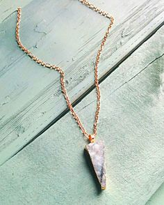 Blue Druzy Triangle Necklace,