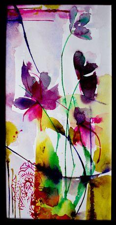 Petit instant N°342 - Peinture, 20x10 cm ©2015 par Véronique Piaser-Moyen - Peinture contemporaine, Papier, Fleur, aquarelle, watercolor, fleur, bouquet, piaser, piaser-moyen, veronique piaser-moyen