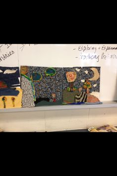 Landscapes using felt and other fabric. Learning about foreground and background. Abstract.