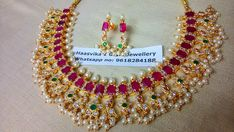 Price: Rs.2650 with screw type earrings . Stunning one gram gold necklace studded with multi color CZs. Necklace having guttapusalu as hangings. 26 February 2018