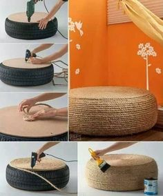 Reuse old tire ottoman nautical diy