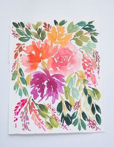 Items similar to Floral Bouquet Original Watercolor Painting on Etsy Watercolor Invitations, Watercolor Cards, Watercolor Illustration, Watercolor Paintings, Original Paintings, Watercolours, Watercolor Flower Wreath, Floral Watercolor, Watercolor Ideas