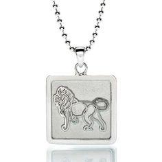 LION Sterling Silver Framed Pendant Necklace by JasonOliva on Etsy